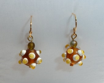 Mustard Yellow Bumpy Road Topaz Glass Earrings