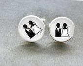 Bride and Groom Cufflinks Gift for Groom Grooms Gift Wedding Cufflinks Wedding Cuff links Couple Cufflink Wedding Cuff link Cufflinks