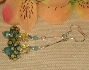 Yellow Rose and Turquoise Lampwork Bead & Crystal Earrings