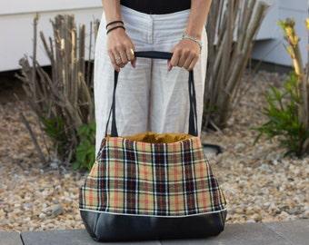 Plaid Print Purse - handbag bag woman bag gift for her stripe black yellow red