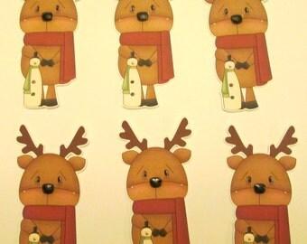 set of 6 reindeer die cuts