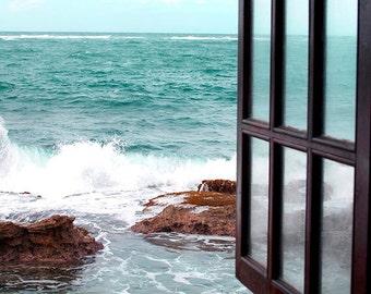 By The Sea, Art, Photography, Coastal Home Decor, Beach Photography, Turquoise, White, Wall Art, 11x14 Print