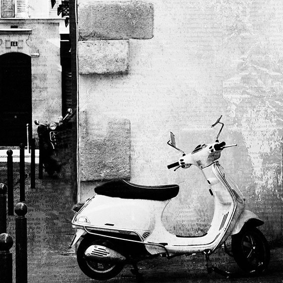 paris photography paris art paris vespa 8x8 black and white. Black Bedroom Furniture Sets. Home Design Ideas