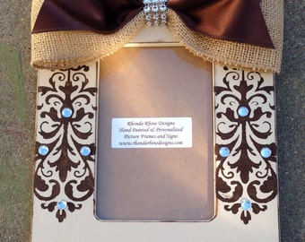 4x6 Frame with Damask Jeweled Designs and Burlap Bow