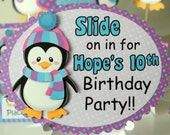 Penguin Party Door Sign - Birthday Party Decoration