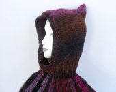 Larpin It To the Streets Vintage Hand Knit Soft Warm Pointy Hood Cape Collar Adult Size