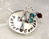 Personalized Mother's Cross Necklace - Two Names Hand Stamped - Necklace for Mom - Fancy Heart Cross - Kids Birth Charms - For Mother's Day