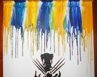 Wolverine Inspired Melted Crayon Art Painting