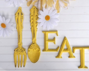 Kitchen Wall Decor / YELLOW / Fork and Spoon Decor / EAT Sign/ Wall Word / Shabby Chic / Shabby Chic Decor / Kitchen Wall Art /