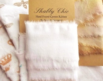 2 Inch Hand Frayed White Ribbon, Shabby Chic, Home Decor and Decoration