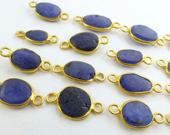 SAPPHIRE. Rough Sapphire. CONNEcTOR LiNKS. Freeform. SMaLl SiZe. Vermeil. 5 pc. 14.0 cts. 8-10 mm (C-S1-sm-gold)