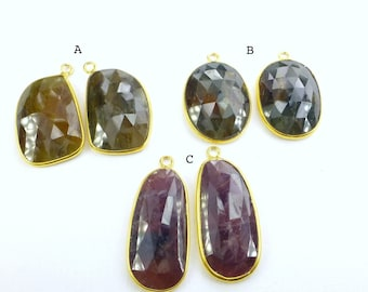 SAPPHIRE. Natural. EARRiNG PeNDANTS. Flat Rose Cut Polki. Vermeil. MATcHed PAiR. CHoOse One Pair. 2 pc. 35+ cts. 14x28 mm (P-S101-gold)