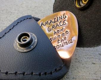 Amazing Grace Christian Hymn lyrics  Guitar pick plus leather keychain - Made to Order-