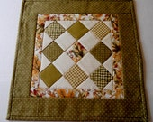 Quilted Table Topper Fall Autumn Colors, Quilted Table Runner, Fall Autumn Runner, Candle Mat, Harvest Gold and Green, Patchwork Runner