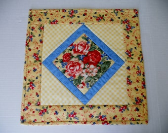 Quilted Table Topper, Mini Quilt, Candle Mat, Yellow and Blue, Flowers, Cottage Chic