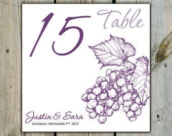 10 Custom Grape Table Numbers - Personalized Winery Wedding Table Numbers / Shower Table Numbers - Cluster of Grapes Winery Table Numbers