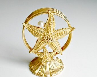 Florenza Letter Holder Starfish With Faux Pearls Gold Tone Vintage Beach Decor Vanity Desk  Accessory