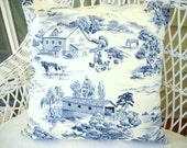 Blue and white toile pillow cover country scene