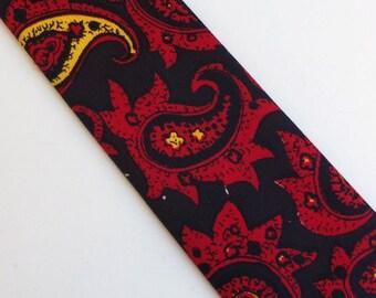 Vintage 60s Skinny Tie Necktie Red Black Yellow Paisley Design Acetate