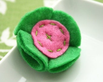 Felt Flower Snap Clip Hair Bow in Green and Pink Felt Hair Accessory No Slip Grip Ready to Ship