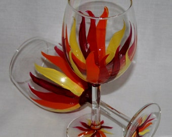 fire streamers wineglass hand painted