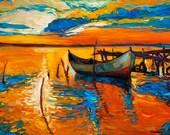Original Oil Painting on Canvas-Colors 23x16 Seascape Painting-Original Modern Art-Impressionistic Oil by Ivailo Nikolov