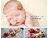 Petite Rose Headband: Newborn Baby Girl Headband + Halo Floral Crown + Natural Organic + Clip + Bridal + Photo Prop + Boho Chic + Headwrap