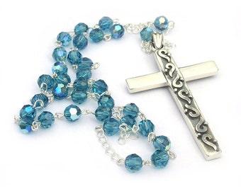 Sterling Silver Anglican Rosary Swarovski Crystal Indicolite