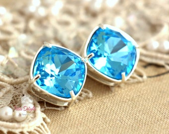 Aquamarine Earrings,Swarovski Earrings,Gift for Her Stud Earrings,Blue Earrings,Turquoise Earrings,Bridesmaids Earrings,Silver Earrings