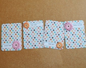 """Handmade """"Baby Girl"""" Embellished Project Life Journaling Cards"""