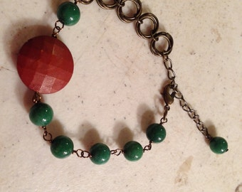 Green Bracelet - Jade Gemstone Jewelry - Chainmaille Jewellery - Asymmetric - Mod - Chain - Funky