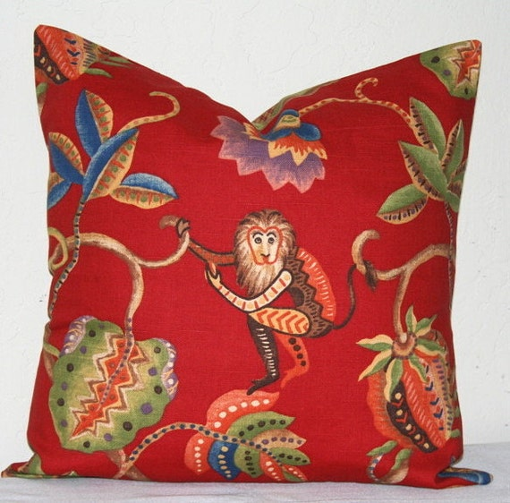Jungle Animal Pillow : Red Animal Jungle Print Decorative Pillow Cover 18 inch