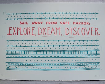Explore, Dream, Discover Block Print - Teal and Coral