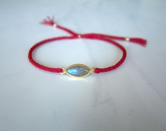 SOUL - Labradorite - Gold Eye - Thin Surfer Style Cord Bracelet / Hand Knotted by fig&fig