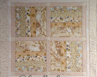 Quilted Table Mat, 4738-0, Cream and Gold wall quilt, Pieced Table Runner, fabric wall hanging