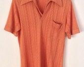 Vintage Burnt Orange Deep V Medium Shirt