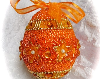 Faberge-like Beaded Egg Ornament Orange