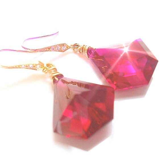 VALENTINES DAY Raspberry Ruby Quartz Luxe Earrings, Wire Wrapped Gemstones,  CZ Sparkle, Festive Fashion Accessory Elegant Your Daily Jewels