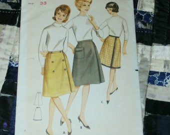 "Vintage 1960s Butterick Pattern 3219 for Misses Wrap Skirt, Size Waist 24"", Hip 33"""