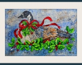 Goose Holly Red Ribbon Berries Batik Watercolor Holiday Painting by Colorado Artist Martha Kisling