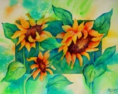 Sunflower Trio Border Painting by Watercolor Artist Martha Kisling