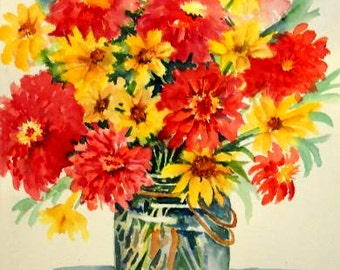 STUDIO SALE - Watercolor of Bouquet Yellow and Orange Flowers by Martha Kisling