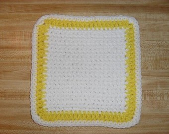 Crocheted Dishcloths Wash Cloths Set Of 3 Pot Holders Yellow /White Blue /White Tan/ White  Red Heart Acrylic Yarn Handmade
