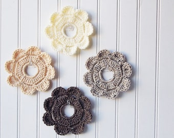 Decorative Crochet Mini Wreath Wall Hangings & Picture Frames - Muted Browns