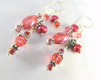 Freshwater Pearl Earrings in Coral Rose Sunset colors with Swarovski and Czech Glass on all Sterling Silver