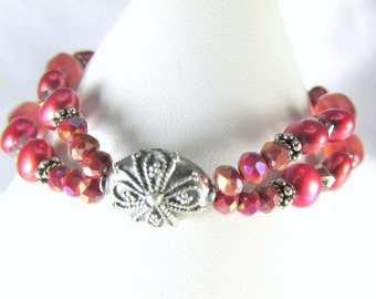 Double Strand Bracelet Freshwater Pearl Coral Rose Sunset colors in all Sterling Silver