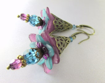 Lily Flower Earrings in Plum Purple and Turquoise Tealwith Swarovski Crystals and glass teardrops on Brass