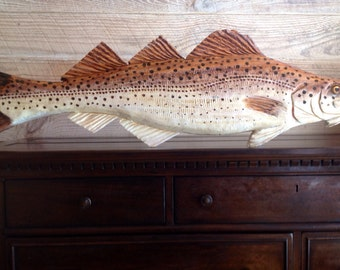 """Atlantic Cod 34"""" chainsaw wooden fish carving Todd Lynd original home decor wall art nautical accent fishing retreat seaside sculpture art"""