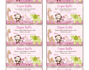 "Printable ""Jungle Jill/Girl Animals"" Diaper Raffle Tickets Instant Digital Download"