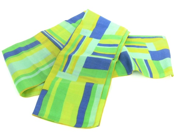 Vintage Silk Scarf / Green Blue and Yellow Bold Block Print Design / Color Blocking
